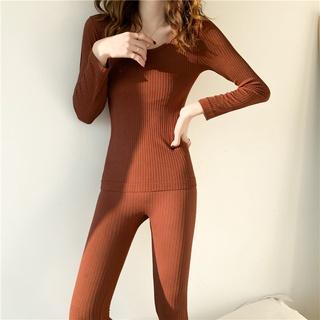 女生睡衣 保暖衣 發熱衣 秋冬螺紋無縫美體保暖內衣套裝 女生長袖套裝 性感睡衣 套裝 緊身褲 兩件式套裝 打底衣褲 女裝