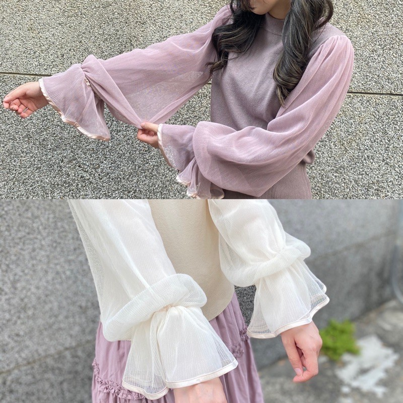[現貨]2色唯美浪漫泡泡袖針織上衣