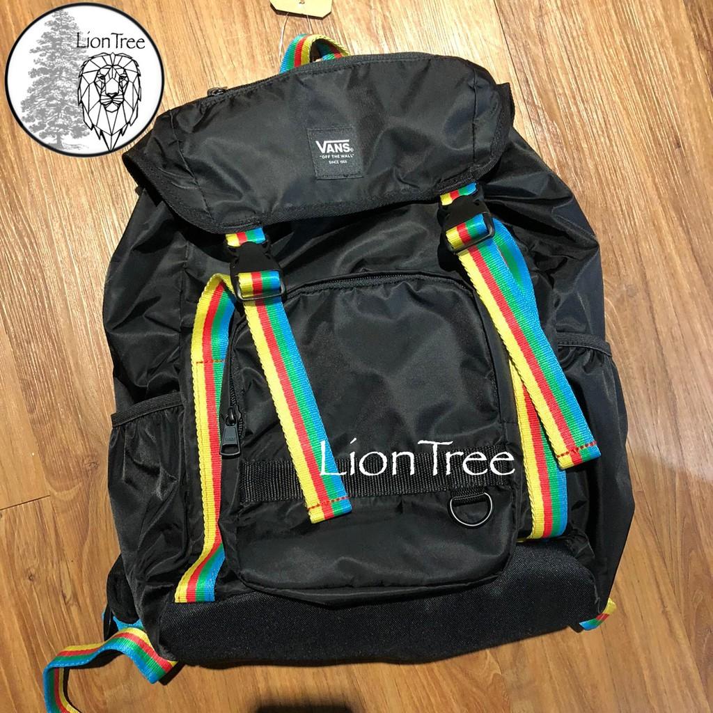 【LionTree】Vans 後背包 黑色 logo 束口袋 書包 登山包 運動背包 休閒 背包 HW724620