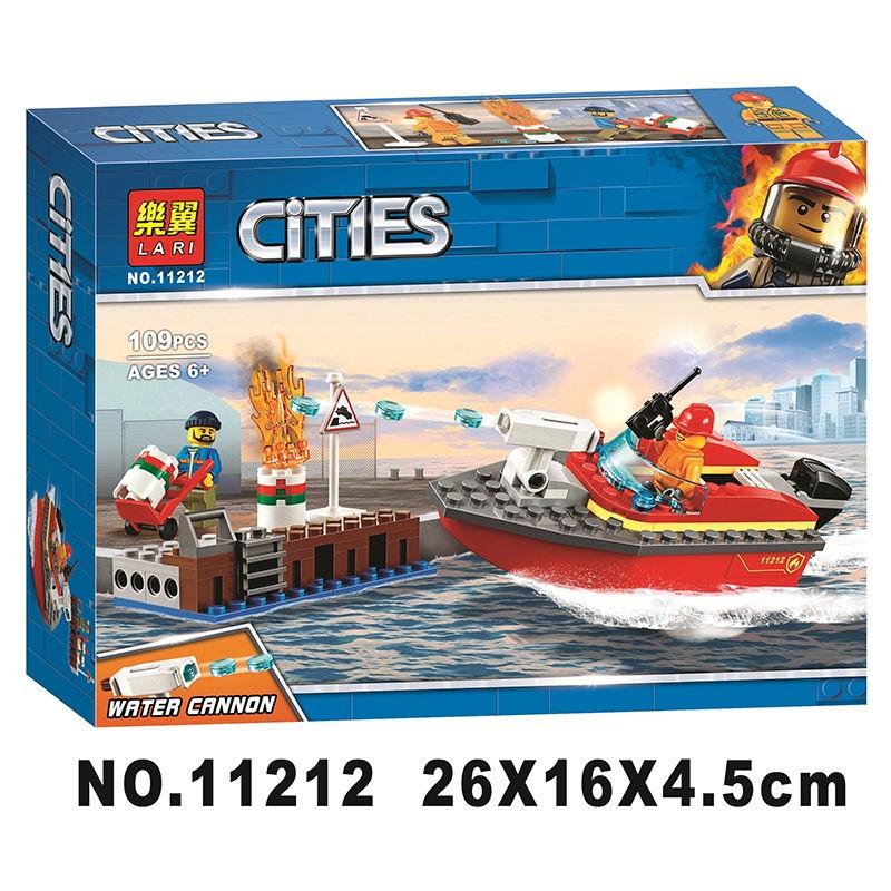 【現貨】BELA博樂樂翼11212城市警察系列 消防:碼頭失火救援 相容樂高60213 小顆粒拼裝積木益智兒童玩具