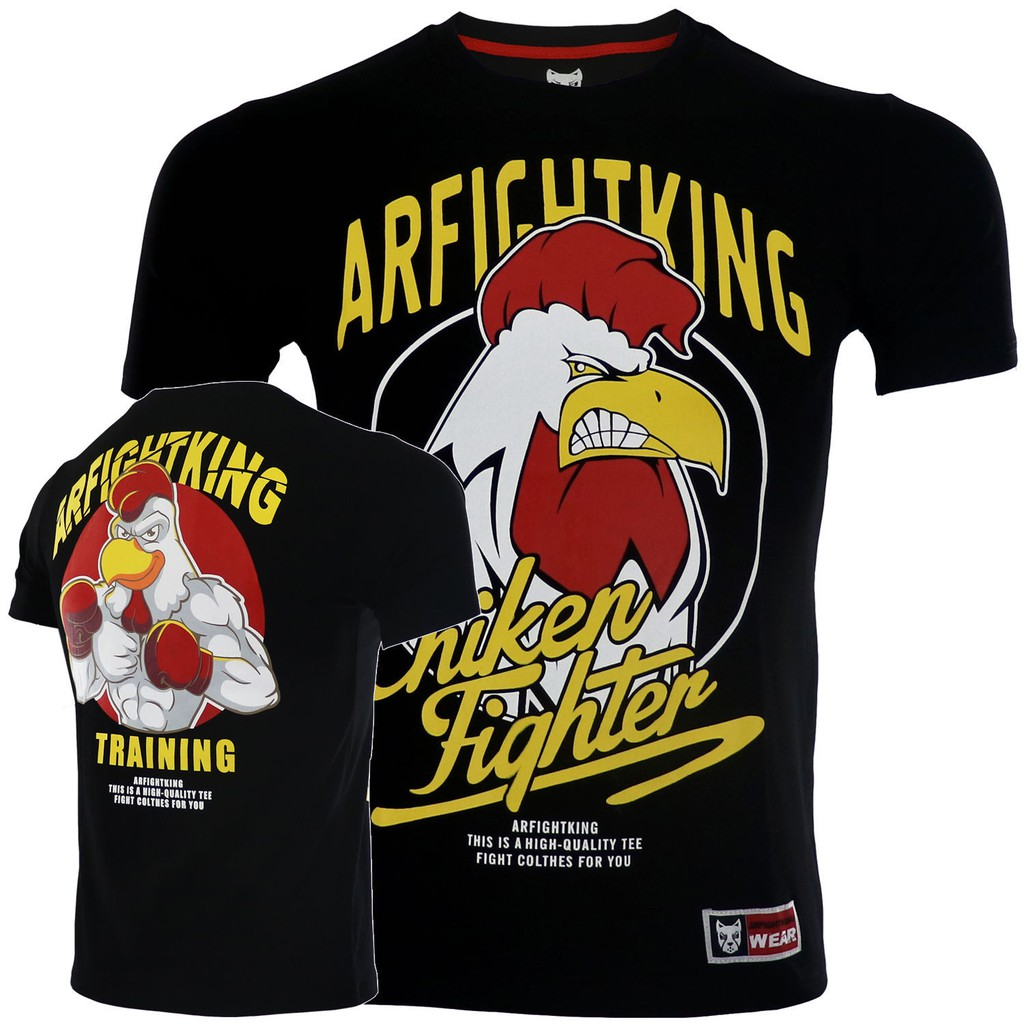 ARFIGHTKING泰拳擊格斗訓練MMA搏擊運動短袖UFC毒液速干T恤健身男