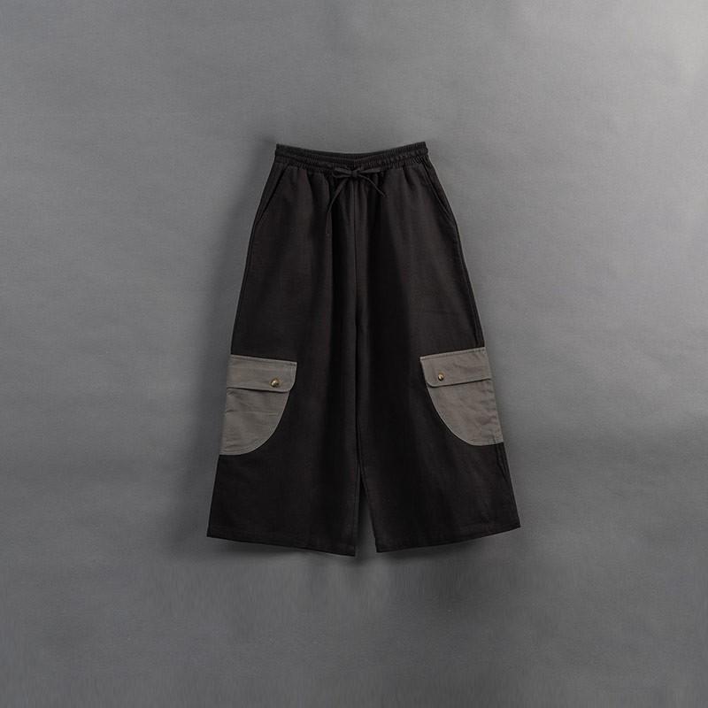 QUEENSHOP_ S 親子系列 撞色口袋造型九分寬褲 1/2/3 現+預【04110364】