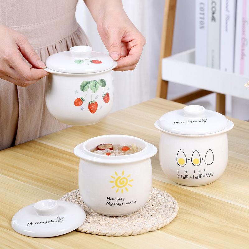 陶瓷水燉杯雙耳家用防燙鍋內膽蒸汽鍋