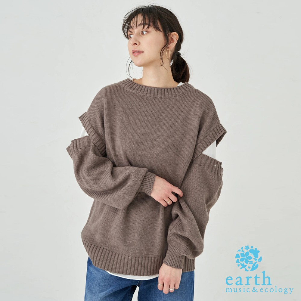 earth music&ecology 可拆袖設計多穿式長版針織上衣(1B11L2G0230)