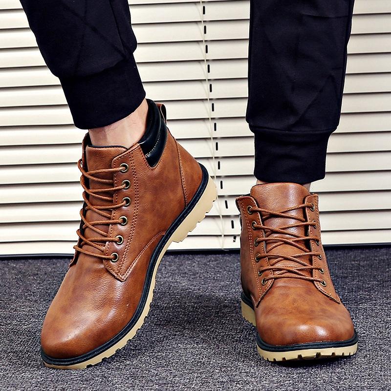 新趨勢防水戶外休閒皮革男士靴子高幫鞋