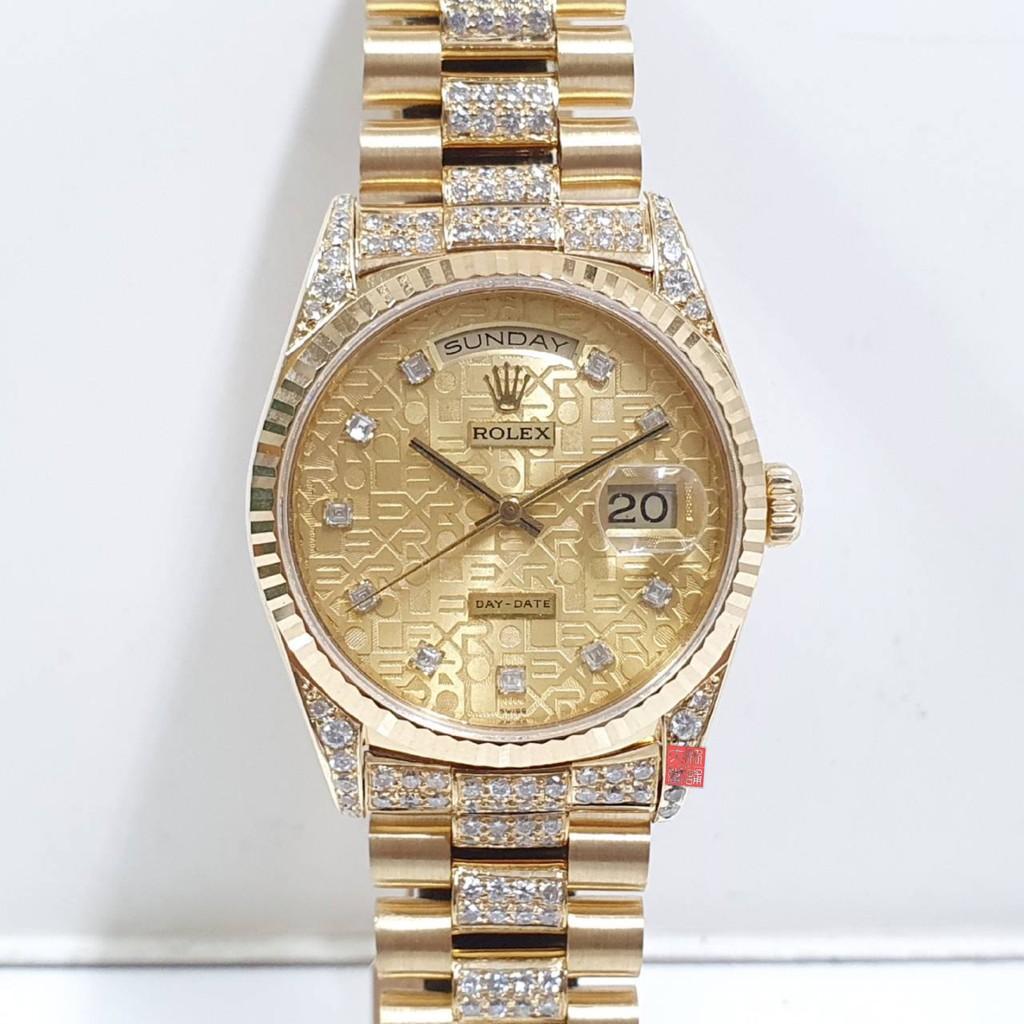 勞力士 蠔式18K金 錶18238原廠紀念面盤 錶徑36mm 精鑲鑽石錶帶 自動機械 18K金材質 大眾當舖 9071