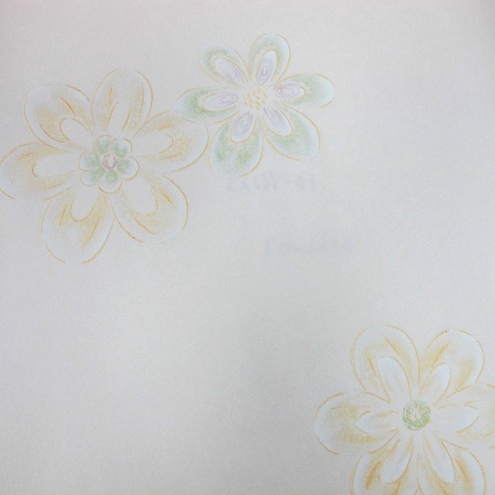 自黏式快貼壁紙 53x500cm 黃色野花