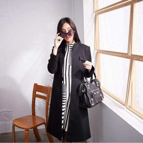 經典黑長版大衣M