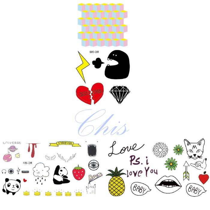 Chis Store fn【彩色個性刺青貼紙】韓國男女性感小清新原宿風 貓熊 英文字母 鳳梨 熊貓 愛心鑽石防水紋身貼紙