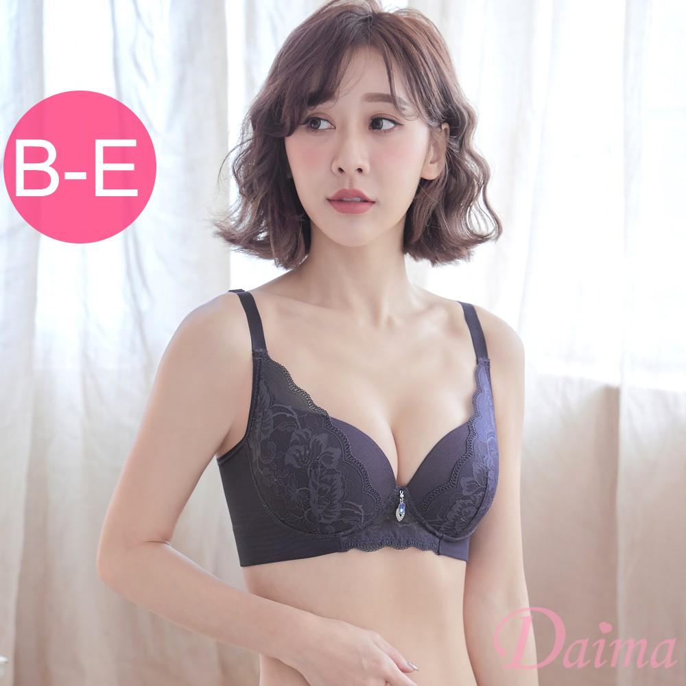 【黛瑪Daima】無鋼圈包覆提托機能蕾絲內衣(B-E)舒適美背調整型內衣-灰色 9131