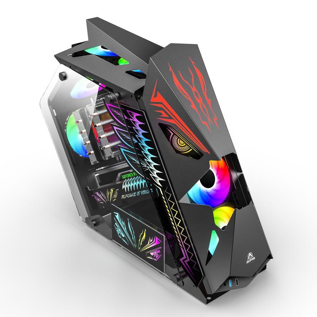 組裝電腦機殼/小咖臺式機電腦電競遊戲水冷主機箱異形全側透明網吧網咖matx粉色