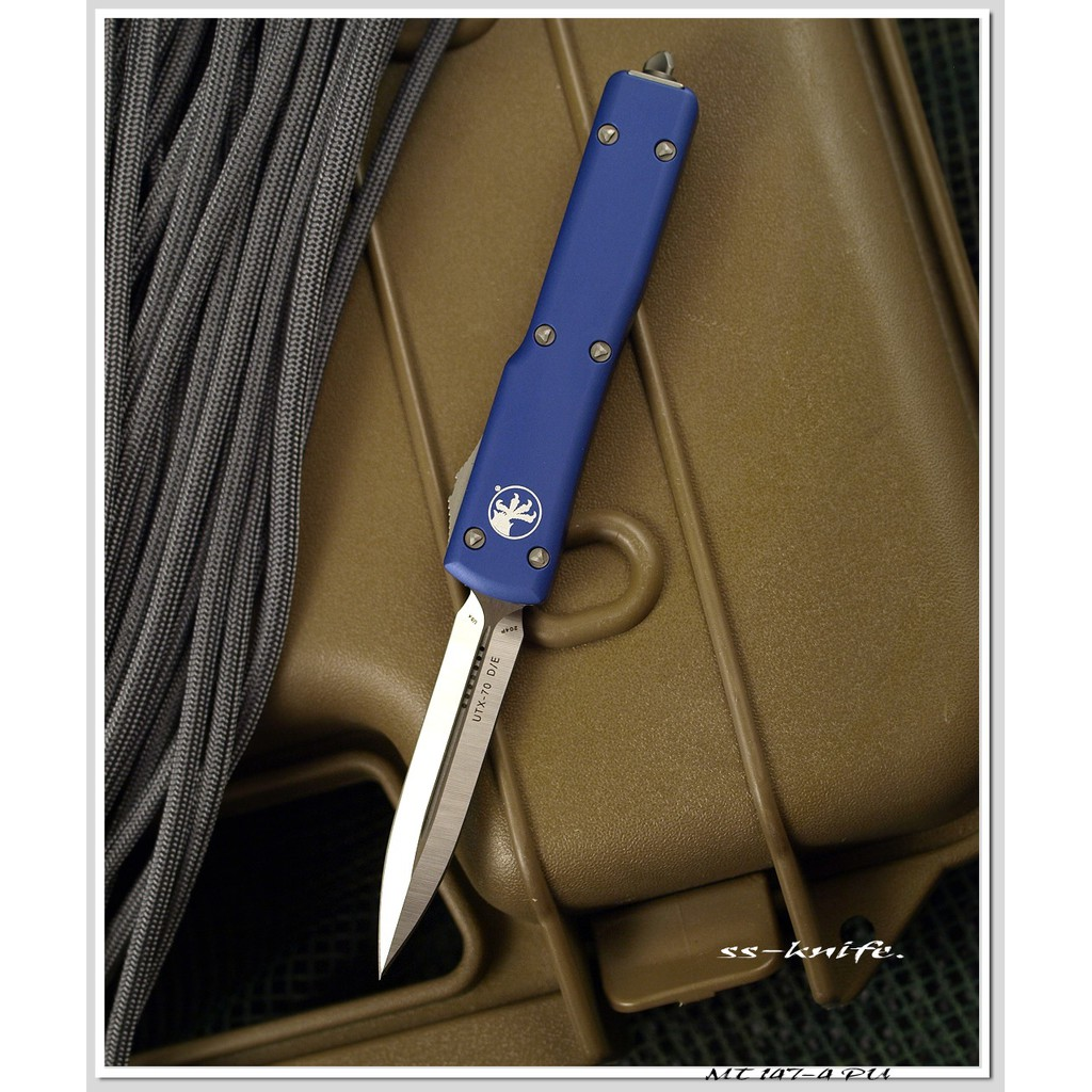 Microtech UTX70 D/E 新款紫鋁柄mini彈簧刀(204P鋼)MT 147-4 PU