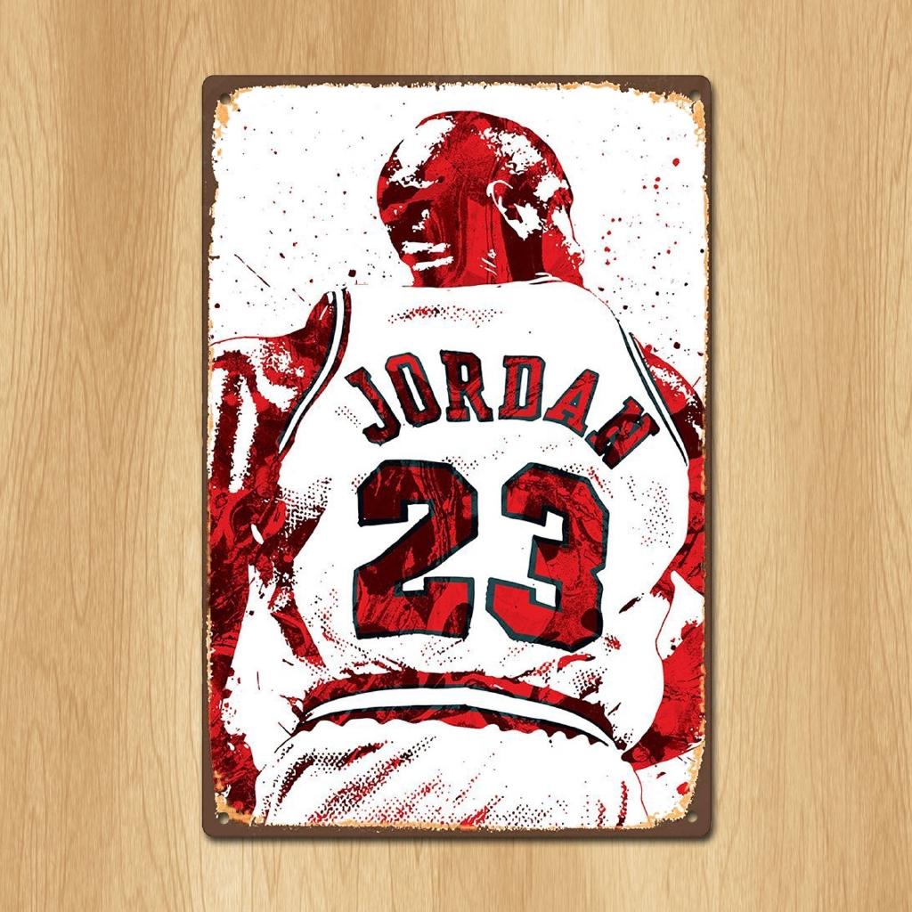 Jordan 23 金屬繪畫海報貼紙復古錫牌牌照板家用牆壁裝飾藝術標誌懷舊