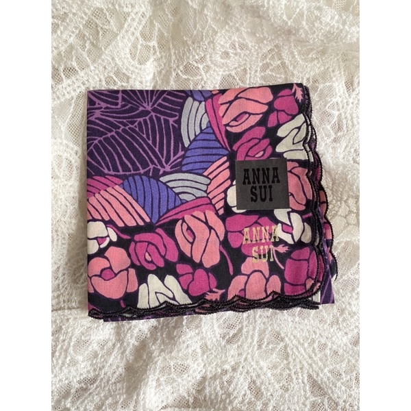 日本購入 ANNA SUI 安娜蘇 棉100% 刺繡 繡邊 現貨 毛巾 手帕 小方巾 方巾