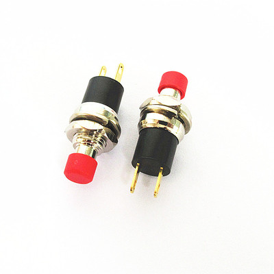 【HOT!批量可議價】PB05A 7MM小型微型 帶鎖 自鎖按鈕開關 2腳鍍金 圓形 按通PBS-05A