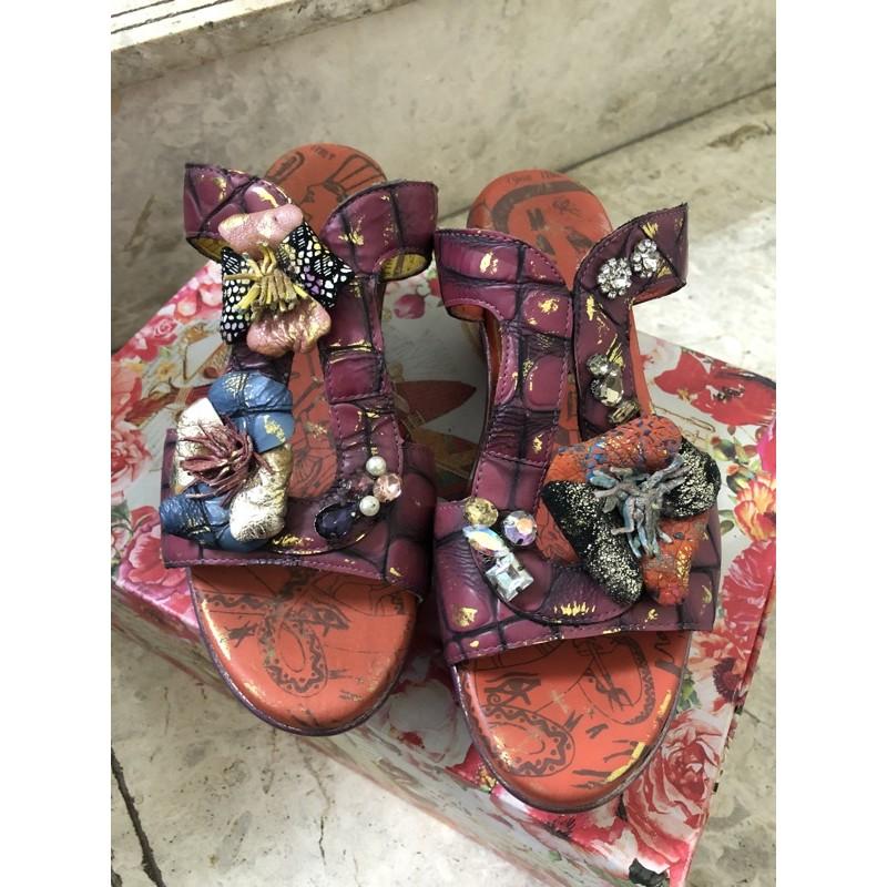 「二手」麥肯納 Macanna37號 高跟拖鞋/ 楔型鞋/拖鞋