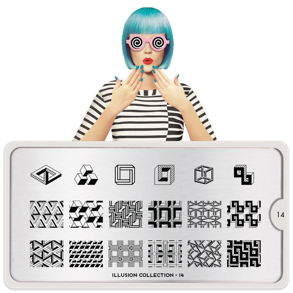 MoYou 指彩印花鋼板 美甲 轉印鋼板 NO244錯覺幻影Illusion 14立方體
