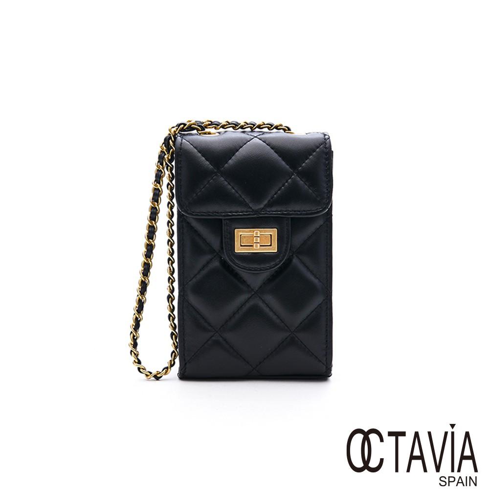 OCTAVIA 8 真皮 - 大黑格系列 4 羊皮菱格小方盒子手機二用肩斜背包 - 迷人黑