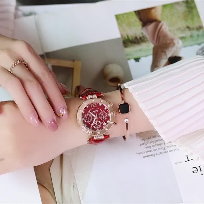 古歐GUOU 8050 歐美範女款手錶三眼帶日曆夜光大錶盤女士皮帶手錶水鑽 手錶女