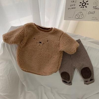 ▽◄¤【現貨】寶寶套裝加絨加厚新款男女童冬裝卡通嬰兒羊羔毛衛衣兒童兩件套