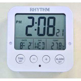 <秀>RHYTHM 日本麗聲方型液晶日期星期貪睡雙鬧鈴溫度自動感光照明冷光鬧鐘LCT082NR03白色 雲林縣