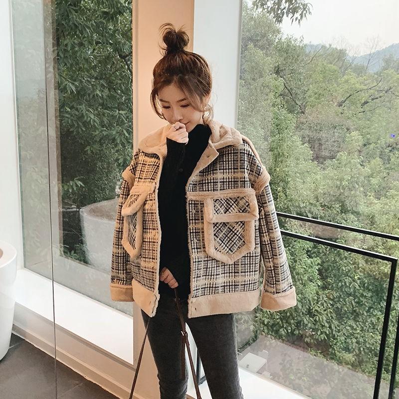 【發現好貨】皮毛一體格子外套女加絨短款2020秋冬新款學生韓版寬松顯瘦夾克潮