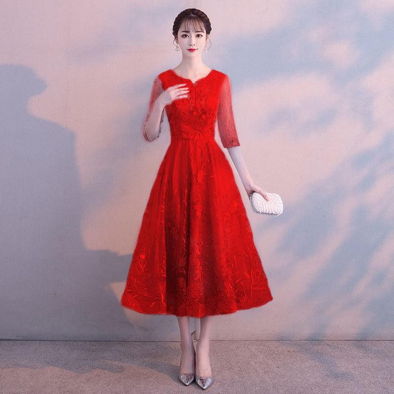 超值【現貨】晚禮服新款2020秋冬女宴會敬酒服平時可穿顯瘦年會主持人禮服裙