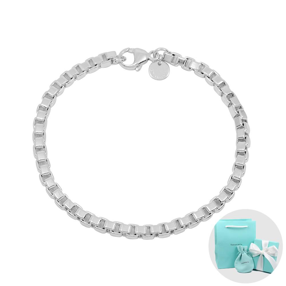 Tiffany&Co. Venetian威尼斯簡約鍊條造型純銀手鍊 T61