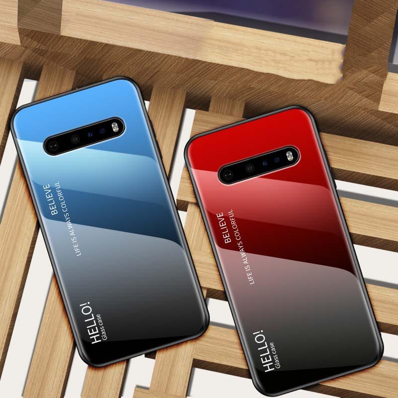 LG V60 G9 G8 G7 G6 ThinQ 手機殼 時尚色彩漸變鋼化玻璃軟邊防摔硬殼 lg g8 g7 手機保護套