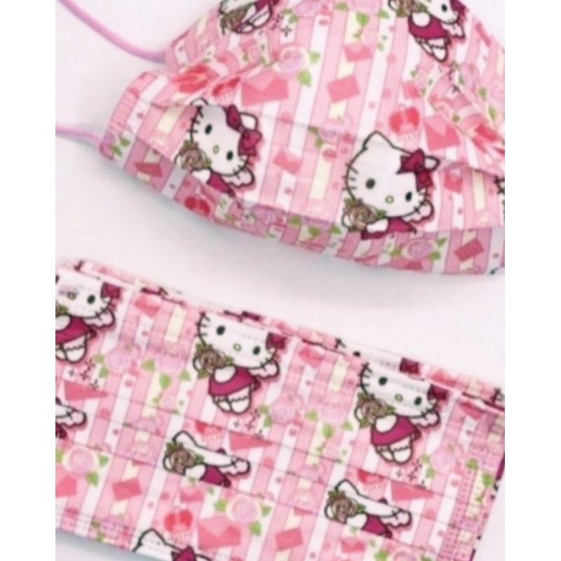 🔥現貨 熱賣🔥【Kitty 口罩】【 Hello Kitty 口罩】🌹凱蒂貓 口罩(玫瑰 情人款)🌹(非醫用) 成人款