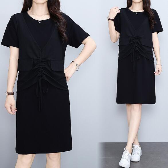 洋裝 連身裙 中大尺碼M-4XL時尚抽繩假兩件短袖圓領套頭衫裙子4F101-8891.胖胖美依