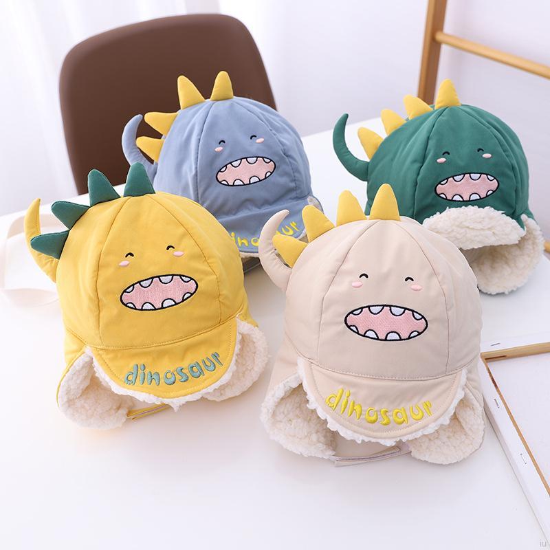 秋冬季兒童保暖帽子卡通恐龍 加厚保暖 嬰兒帽 寶寶可愛護耳帽【IU貝嬰屋】