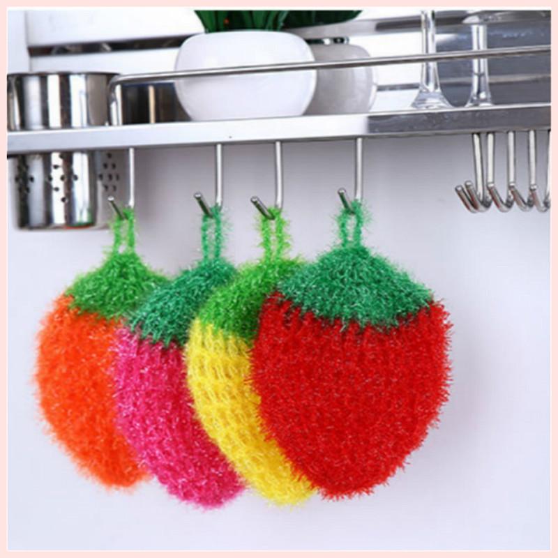 [限時下殺] 韓國不沾油加厚草莓洗碗巾 滌綸清潔布 刷碗巾 百潔布 洗碗布 廚房用品抹布菜瓜布 廚房洗碗巾