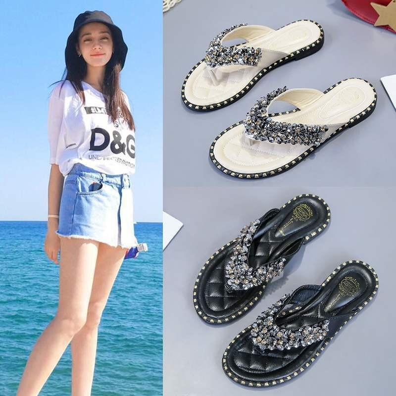 【熱賣】拖鞋女夏外穿時尚百搭學生甜美少女平底夾板夾腳人字拖海邊度假