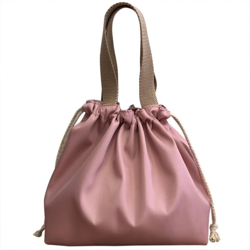 手提包女 Z 新品純色防水飯盒包手提包可愛抽繩便當袋午餐包帶飯包飯盒手提袋
