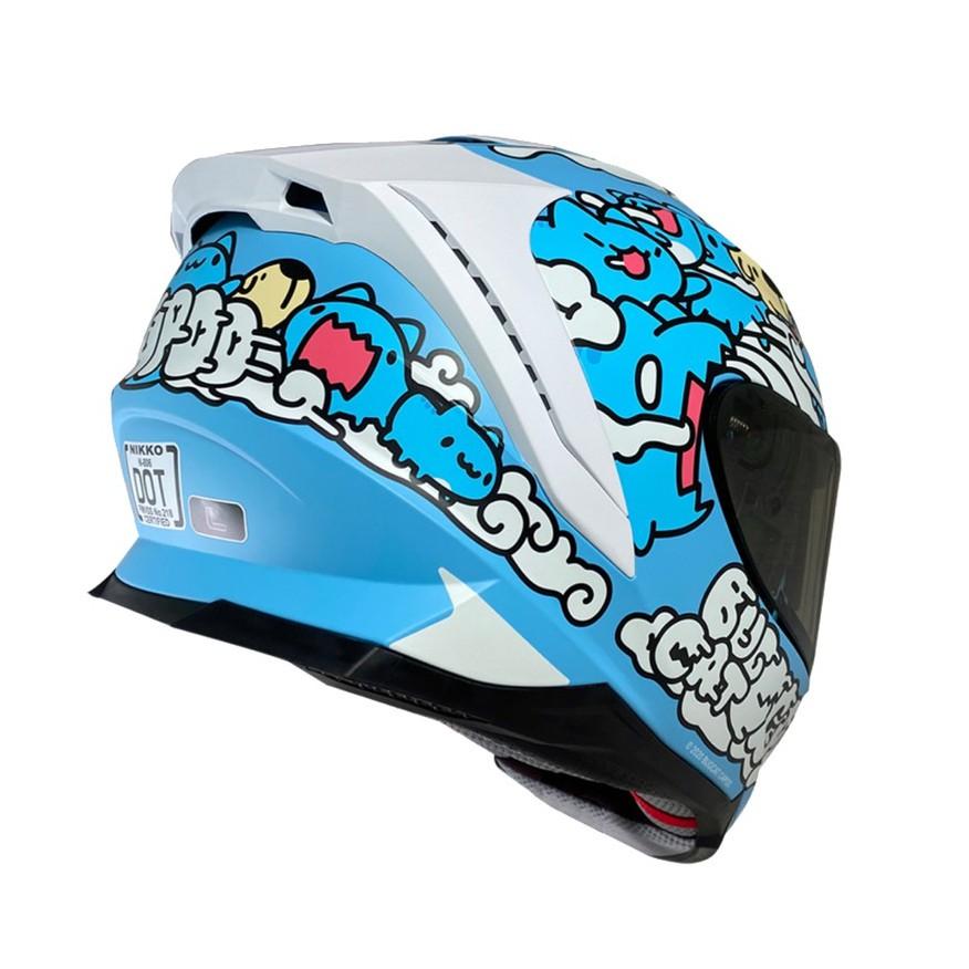 Nikko N806 / N-806 安全帽 咖波 聯名款 咖波藍 浮動式鏡座 全罩 排扣 內藏墨鏡 贈電鍍片《比帽王》