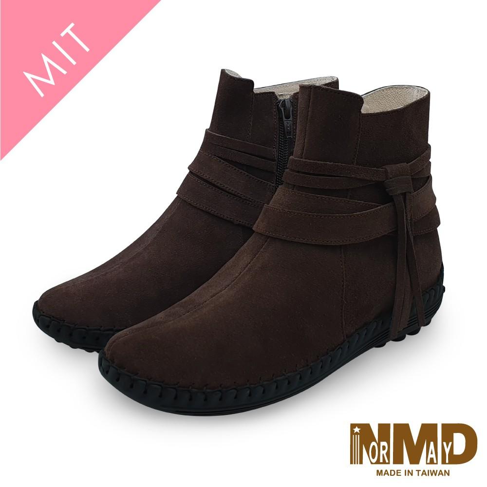 Normady 諾曼地MIT手工鞋 女鞋 短靴 真皮靴 氣墊鞋 純色個性流蘇磁力厚底內增高氣墊球囊短靴(焦糖棕)