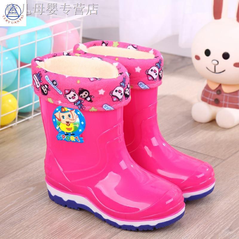 ₪✚❂新款 透明雨靴兒童雨鞋寶寶防滑大中小童水鞋加絨卡通可愛女童膠