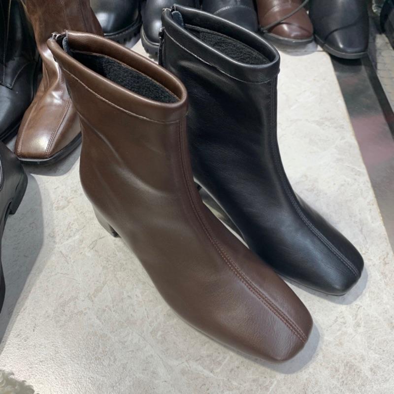 長腿款中線皮革靴 霧面皮革靴 刷毛靴子 低筒靴 拉鍊靴 粗跟靴 質感靴子 GRASS 現貨 [F1632-1]