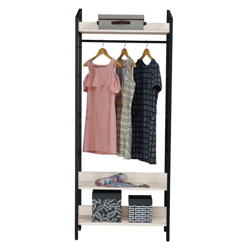 【80cm開放衣櫃-A032-4】木心板 推門滑門開門 衣服收納 免組裝 【金滿屋】