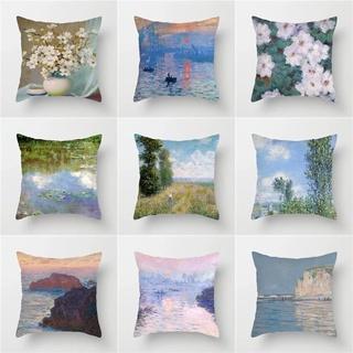 印象派油畫抱枕風景系列世界名畫辦公室沙發客廳飄窗臥室靠墊靠背-lana夢想家
