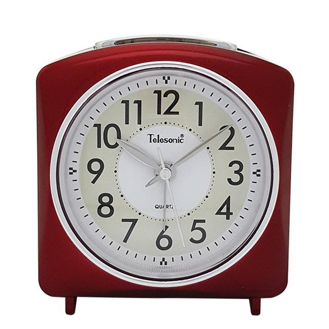 Telesonic/天王星鐘錶 經典鬧鐘紅色 靜音機芯 貪睡功能 靜音鬧鐘