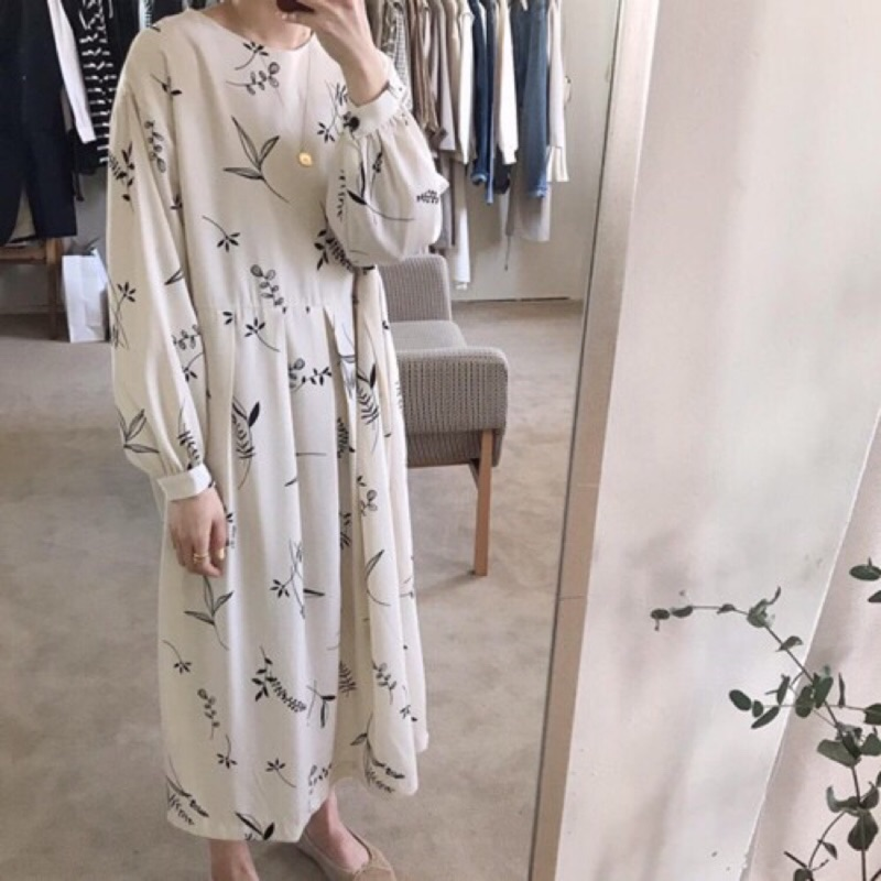HEAR/韓國文藝柳葉洋裝 百褶長袖連衣裙長裙 L2570