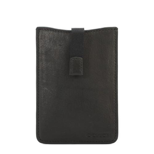 COACH壓紋logo素面牛皮手機套卡(黑)【購名牌】