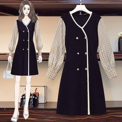 V領 洋裝 裙子 中大尺碼 L-4XL韓版大碼微胖mm法式格子拼接顯瘦連身裙4F093-5030.胖胖美依