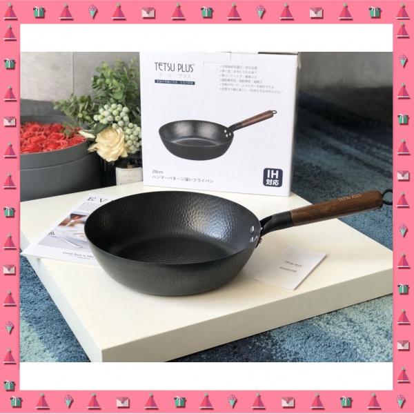 【🔥超低價🔥】日本TETSU PLUS鐵鍋平底鍋炒鍋煎鍋28cm高純鐵無塗層不粘鍋輕量