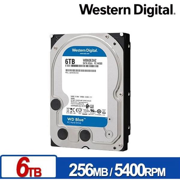 WD 藍標 EZAZ 6T 3.5吋 SATA 內接硬碟 256M快取 5400rpm WD60EZAZ