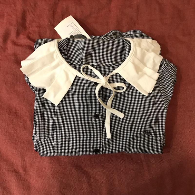 百摺領藍白格洋裝-春裝