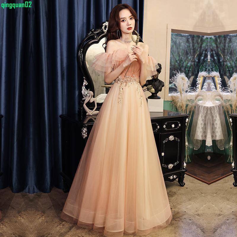 法式宴會小晚禮服裙 一字肩伴娘服大氣端莊粉色年會晚禮服