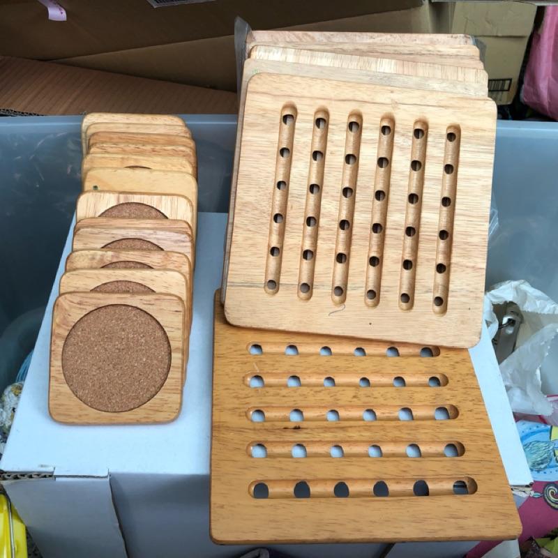 原木製_桌墊*7+杯墊*24 套組